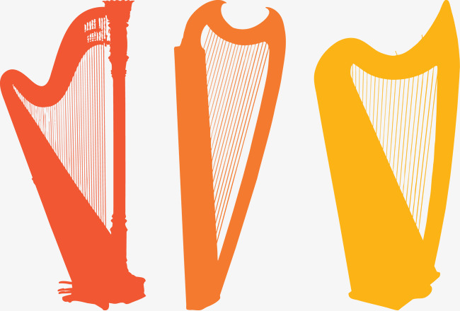 650x440 Harp Silhouette Orange Vector, Vector, Orange, Harp Png And Vector