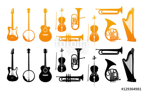 500x324 Set Icons Of Orchestral Musical Instruments In Golden And Black