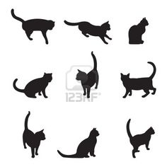 236x236 Set Of Cats Silhouettes In Different Poses Third Variant Tattoos