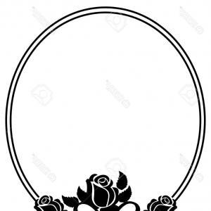 300x300 Black White Silhouette Oval Floral Frame Shopatcloth
