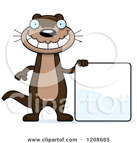 450x470 Cartoon Of A Happy Skinny Otter By A Sign