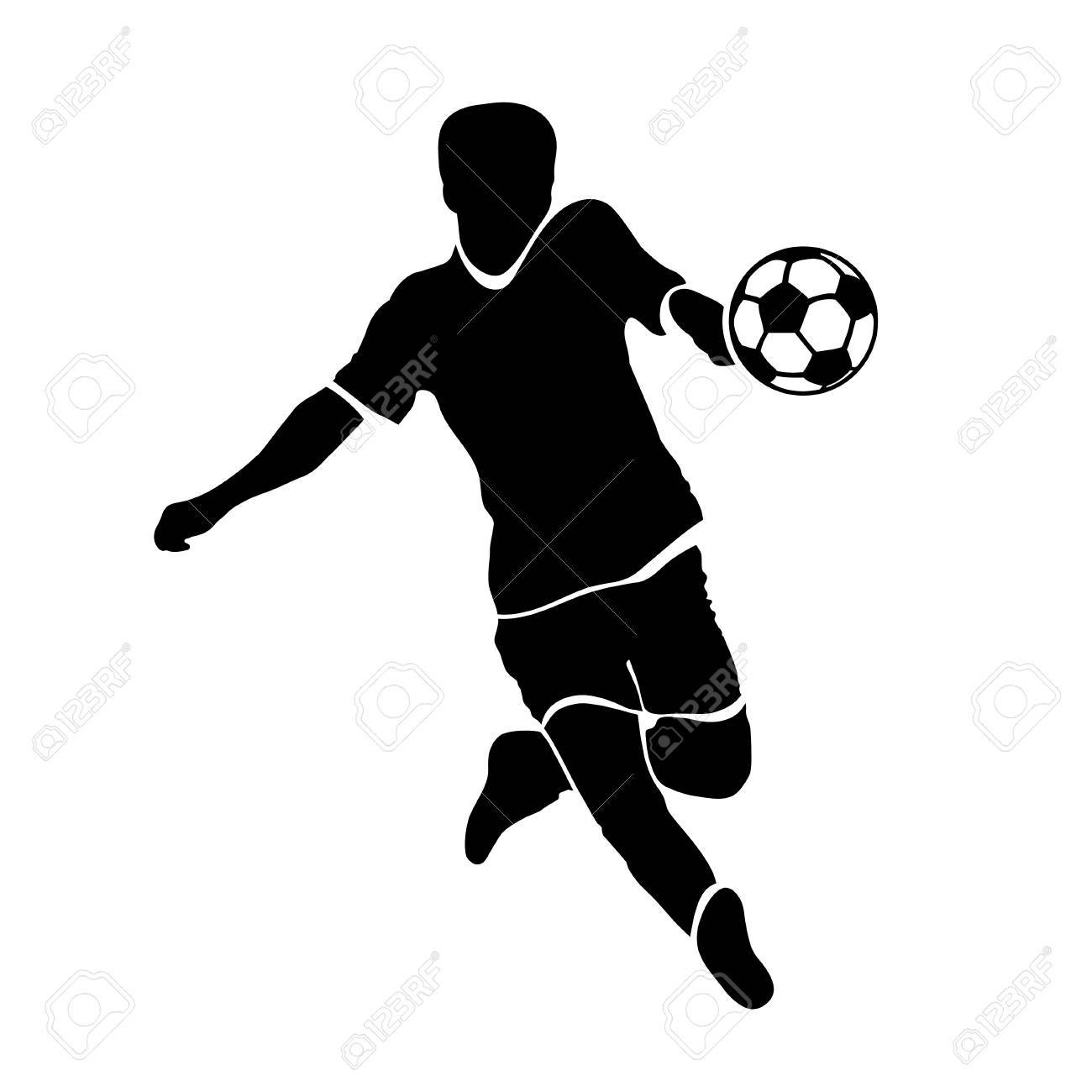 1300x1300 Footballer Silhouette Black Football Player Outline With A Ball