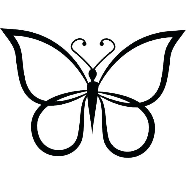 626x626 Outline Butterfly Butterfly Outline Or Silhouette Basic Shapes 2