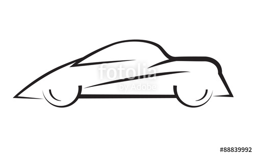 500x305 Car Side View Line Outline Silhouette Drawing Stock Image
