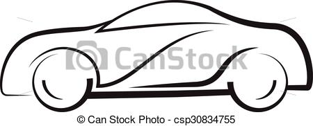 450x182 Car Side View Line Outline Silhouette Drawing Clipart Vector