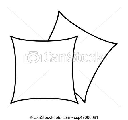 450x419 Cartoon Pillow Silhouette, Outline Vector Symbol Icon Vector