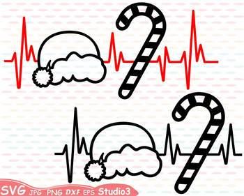 350x281 Christmas Heart Silhouette Svg Cutting Files Clipart Santa Hat