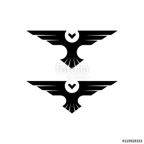 500x500 Owl Logo, Silhouette Raptor In Flight With Spread Wings In