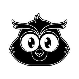 300x300 Silhouette Owl Head Cute Animal Character Vector Illustration