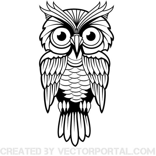 660x660 Owl Vector Clip Art Image