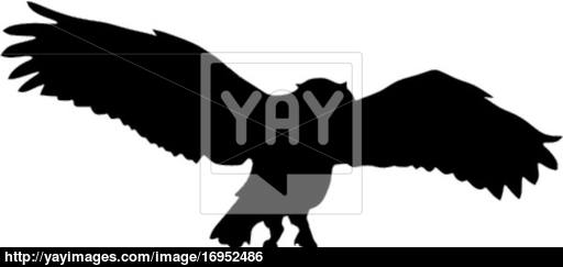 512x243 Silhouette Of Flying Owl Vector