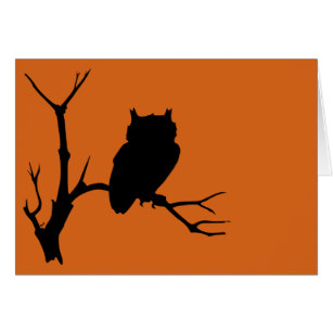307x307 Black Silhouette Trees Owl Cards