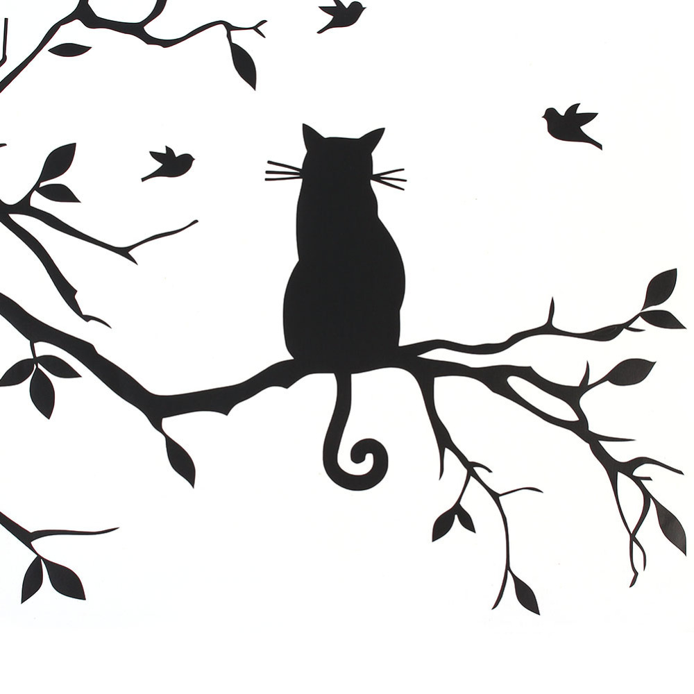 1000x1000 Cat On Tree Branch Birds Wall Sticker Home Decor Tree Wall Decal