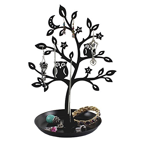 500x500 Cut Out Metal Owl Tree Jewelry Stand With Removable Tray Earrings