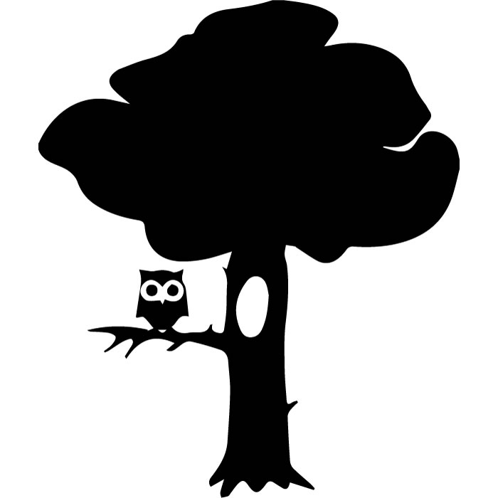700x700 Owl On A Branch Tree Silhouette Flowers And Trees Wall Stickers