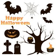 190x190 Silhouette Of Halloween Dry Tree And Bat Premium Clipart