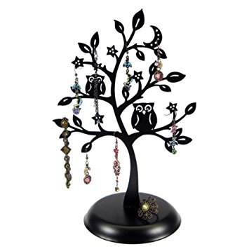 355x355 Cut Out Metal Owl Tree Jewelry Stand Earrings Holder