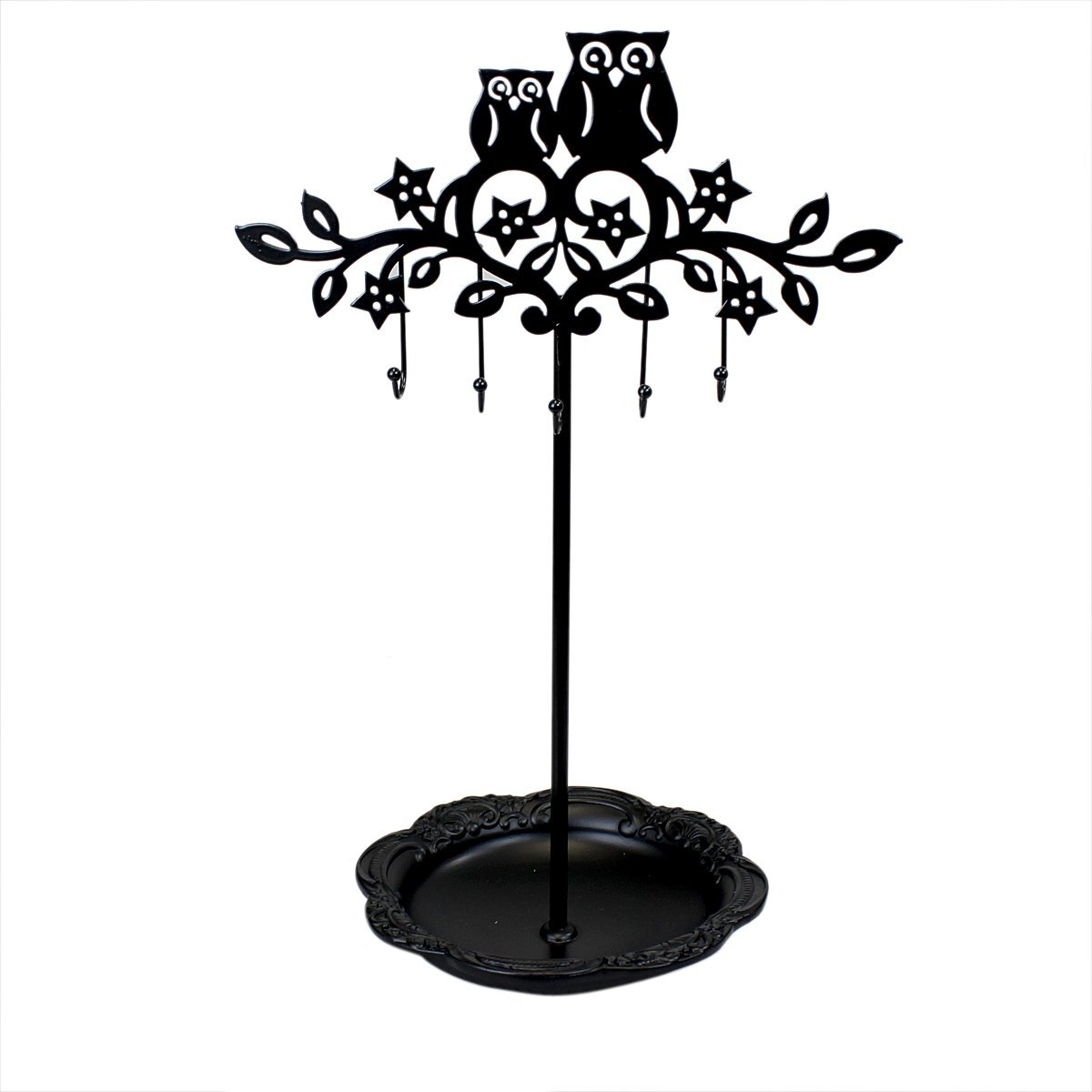 1200x1200 Cut Out Owl Tree Jewelry Stand With Tray Black