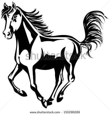 450x470 Cartoon Black And White Horse Collection