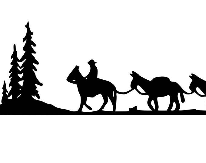 680x540 Horse, Mule Pack Train, Trailer Decal, Pack Train , Horse Decal