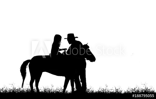 500x317 Silhouette Cowboy And Girl Riding A Horse On White Background