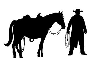 320x219 Cowboy And Horse Silhouette Decal Sticker