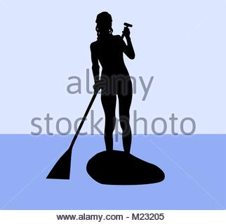 322x320 Vector Illustration Of Stand Up Paddling Female Silhouette Icon