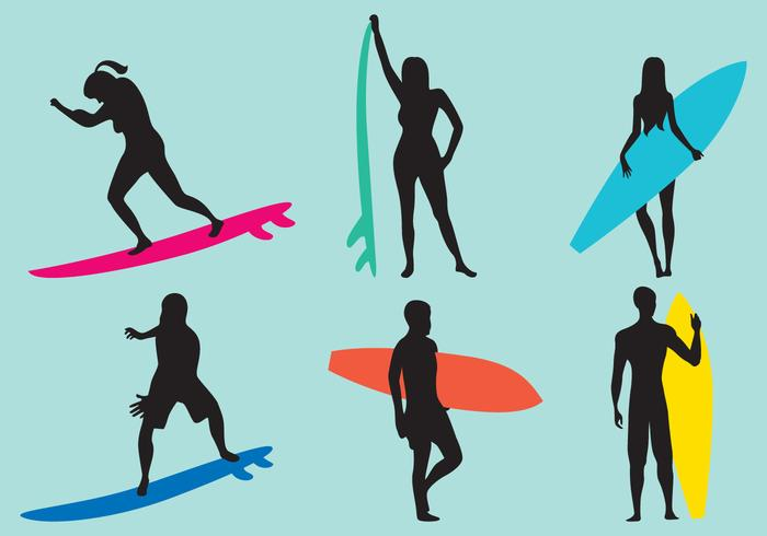 700x490 Woman And Man Surfing Silhouette Vectors
