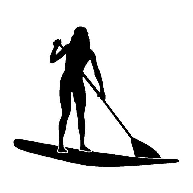 640x640 15cm12.8cm Lady Stand Up Paddle Board Fashion Car Sticker Vinyl