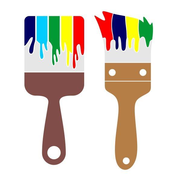 600x600 Paint Brush Cuttable Design Cut File. Vector, Clipart, Digital