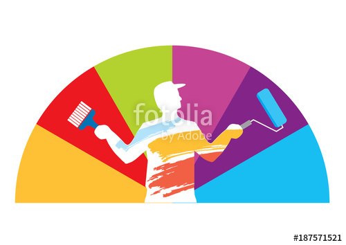 500x354 Room Painter Color Swatch. Male Silhouette With Paint Roller