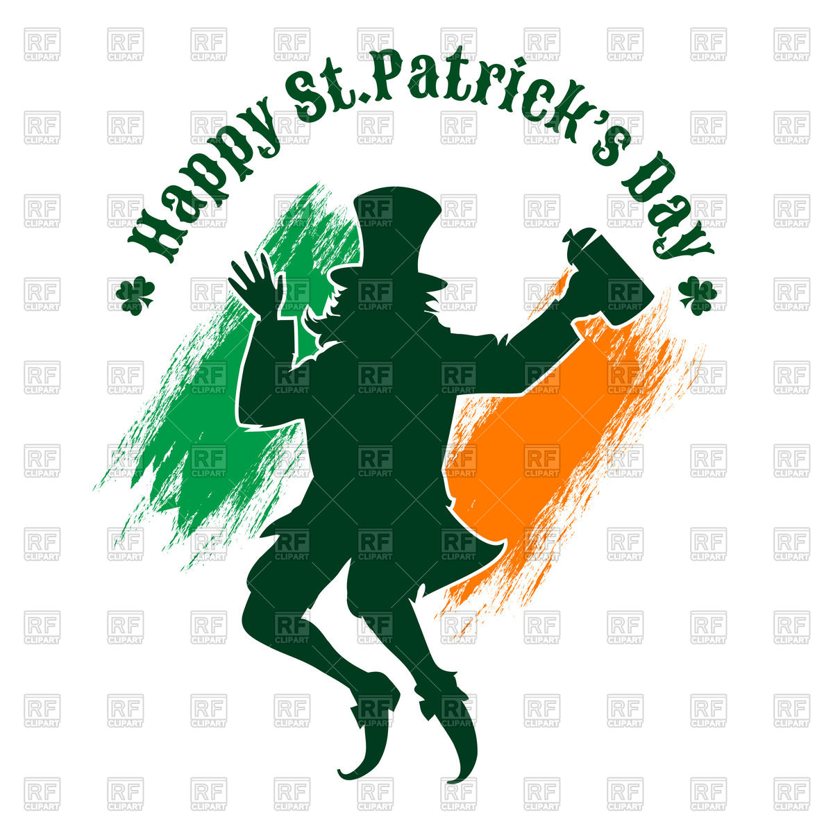 1200x1200 St. Patrick's Day Poster With Silhouette Of Joyful Leprechaun