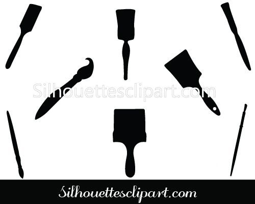 500x400 Paintbrush Silhouette Vector Graphics