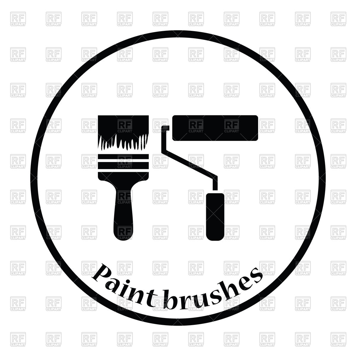 1200x1200 Thin Circle Design Icon Of Construction Paint Brushes Royalty Free