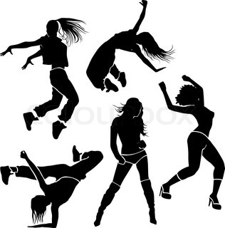 316x320 Dancing Girl Jump Black Splash Paint Silhouette Isolated White