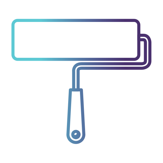 550x550 Paint Roller Icon Gradient Color Silhouette From Blue To Purple