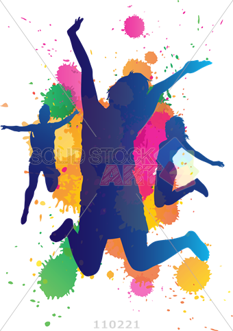 340x484 Stock Illustration Of Jumping Girls With Bright Paint Splatter