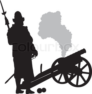 315x320 Conquistador With Musket Aiming. Detailed Vector Silhouette. Eps 8