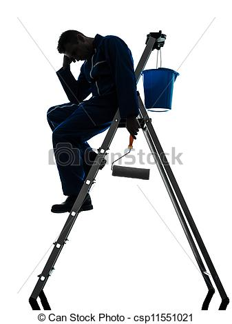 337x470 One Caucasian Man House Painter Worker Silhouette In Studio