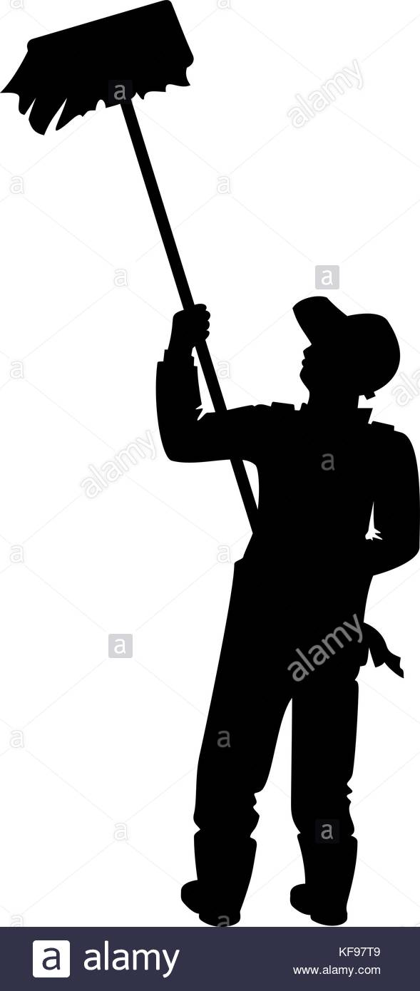 589x1390 Painter With A Brush. Vector Illustration Of A Worker Silhouette
