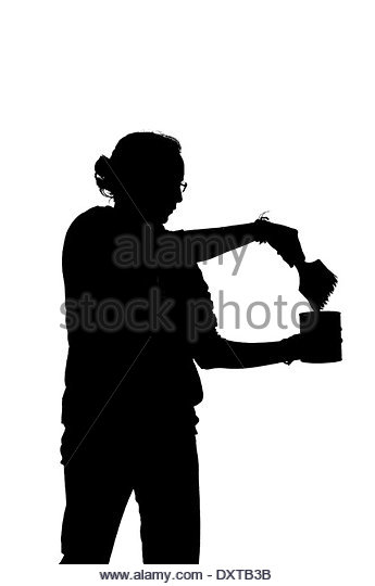 345x540 Silhouette Professional Young Painter Woman Stock Photos