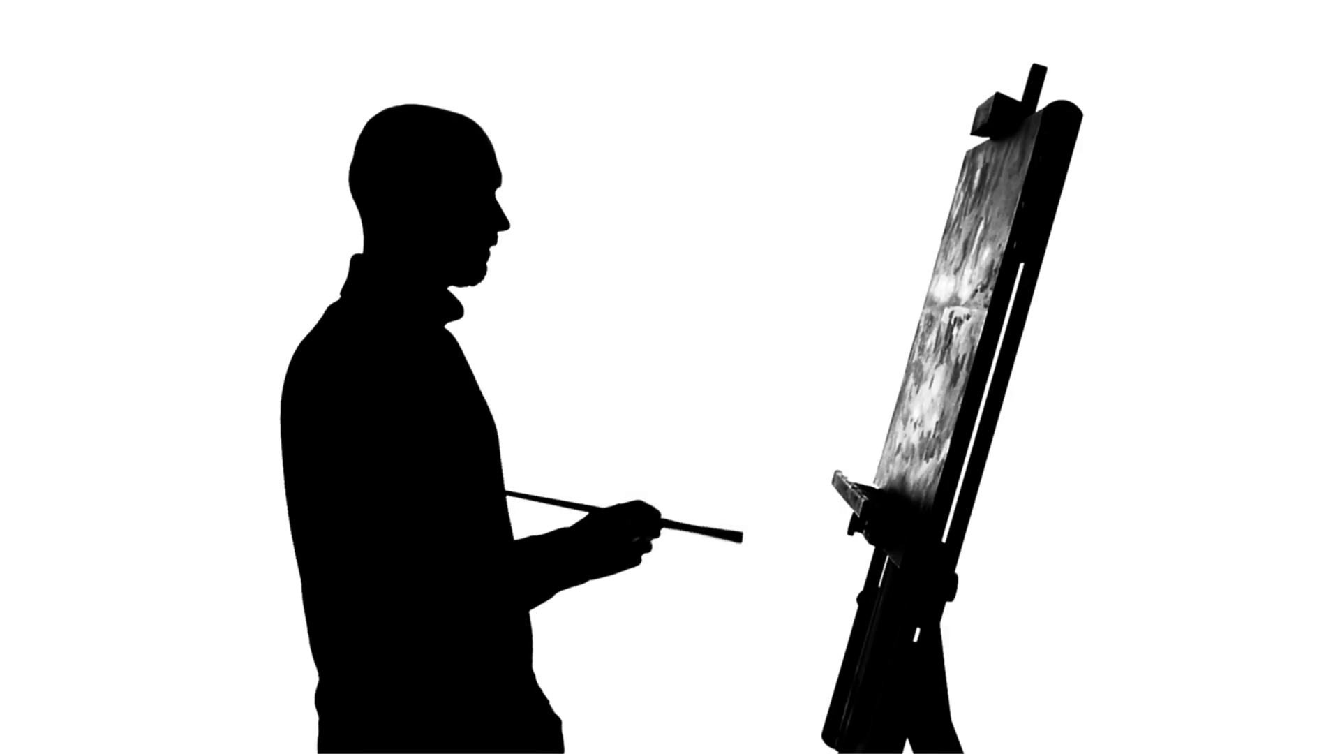 1920x1080 Talanted, Bearded, Bald Painter Drawing A Painting By Oil Paints