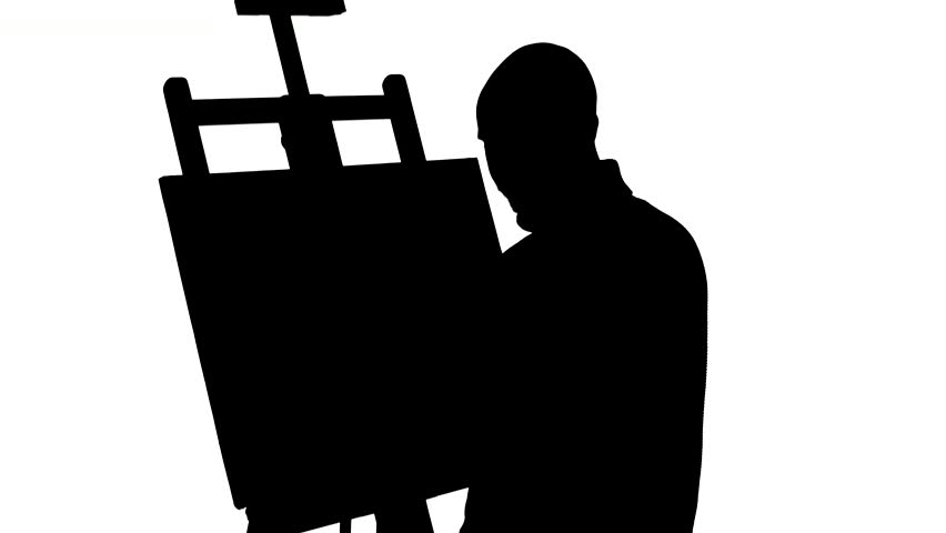 852x480 Bald, Stylish, Bearded Painter In Dark Sweater Drawing A Painting