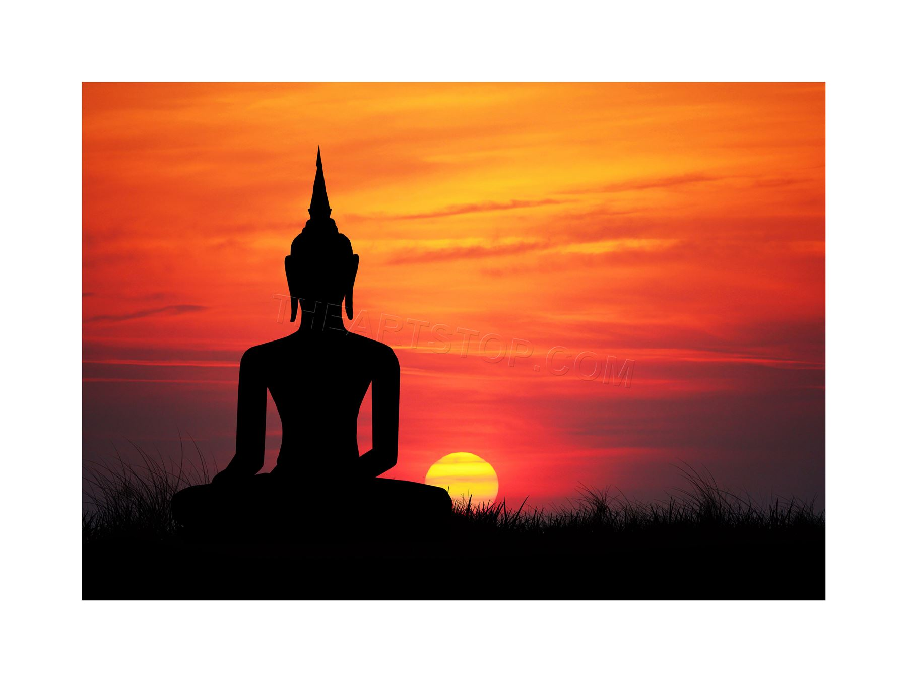 1800x1354 Painting Illustration Buddha Silhouette Sunset Sky Framed Print
