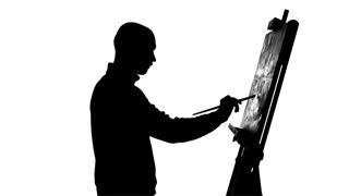 320x180 Talanted, Bearded, Bald Painter Drawing A Painting By Oil Paints