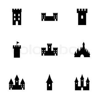 320x320 Castle Silhouette Icon On White Background. Vector Illustration