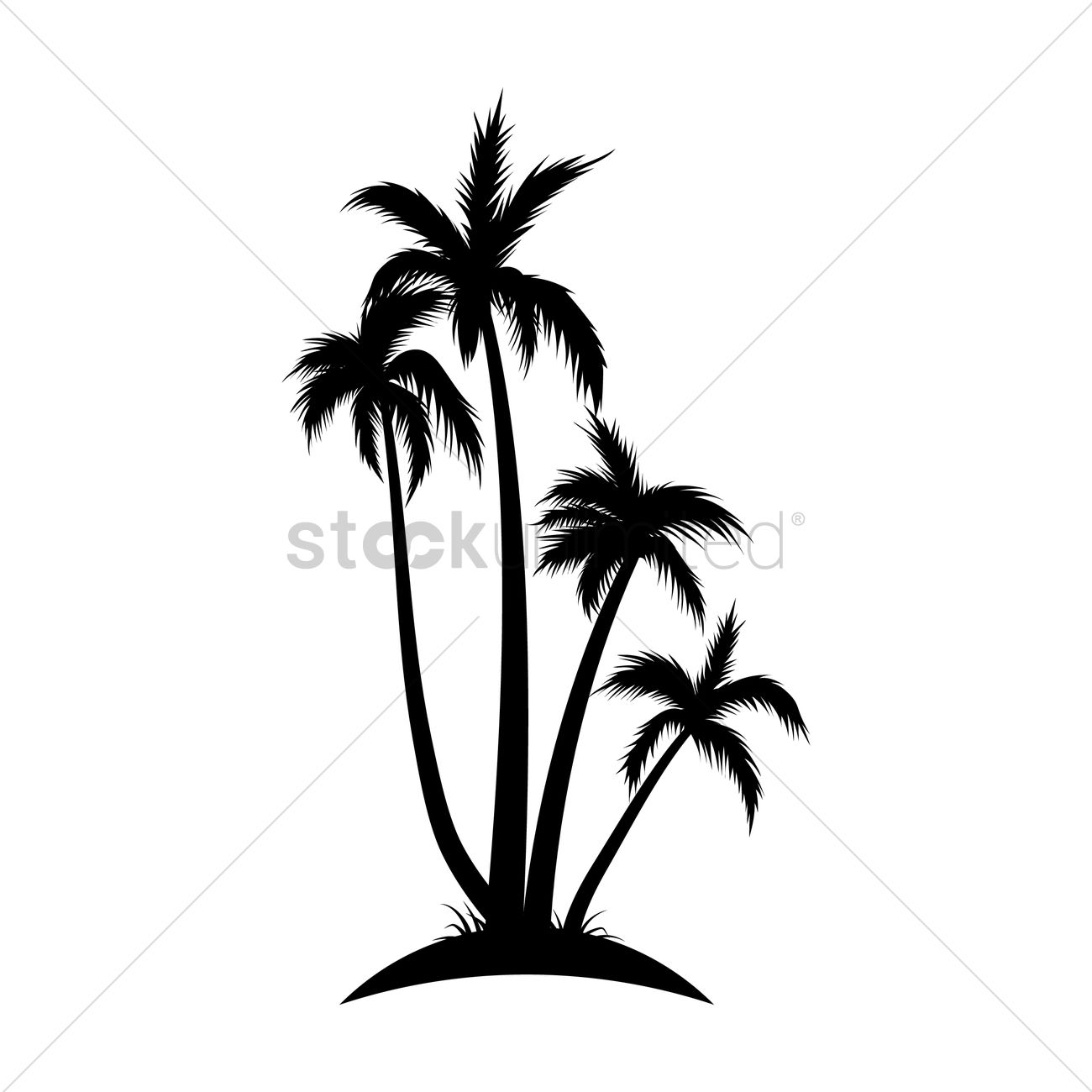1300x1300 Silhouette Of Coconut Tree Vector Image
