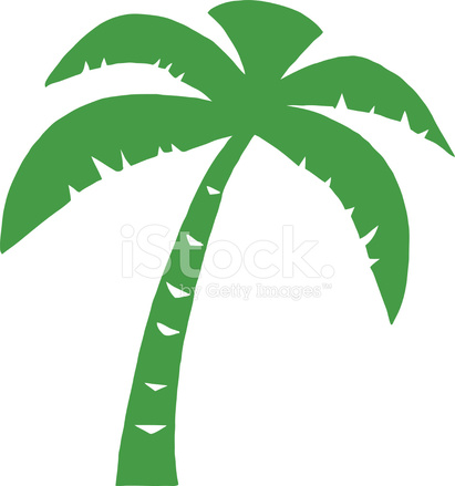 411x439 Green Silhouette Palm Tree Stock Vector