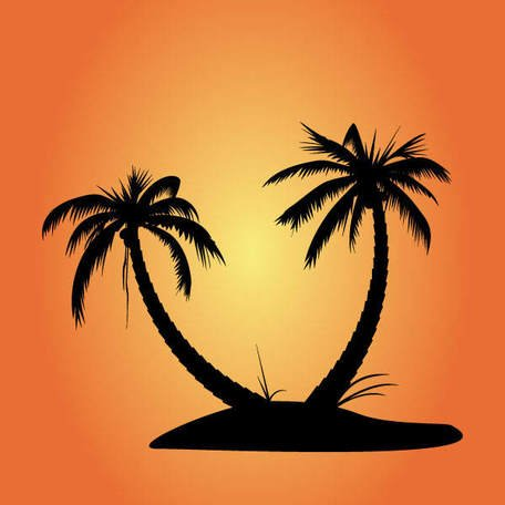456x456 Free Vector Palm Tree Silhouettes, Vector Graphic