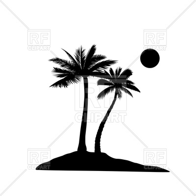 400x400 Palm Tree Silhouette Royalty Free Vector Clip Art Image